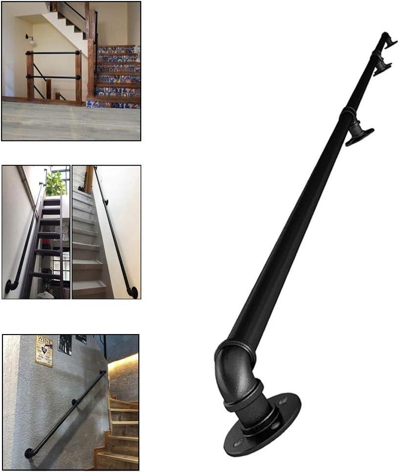 GJIF Escalera de pasamanos.Negro de metal de hierro forjado con soportes de pared Pasamanos for escaleras exteriores Pasos exterior o interior Escaleras Balaustradas barra de pared de la barandilla