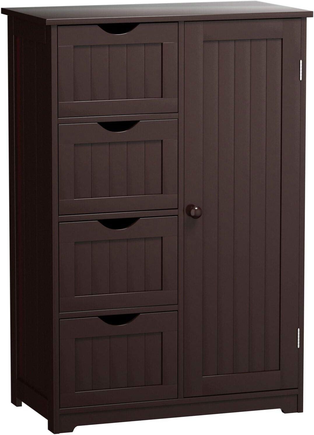 Giantex Bathroom Floor Cabinet Wooden with 1 Door & 4 Drawer, Free Standing Wooden Entryway Cupboard Spacesaver Cabinet (Brown)