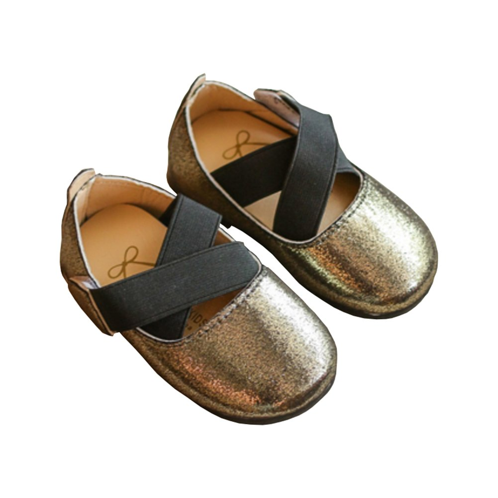 Toddler Girl Cross Strap Sparkle Shiny Princess Mary Jane Ballet Flat Dress Shoe Dark Golden Size 21