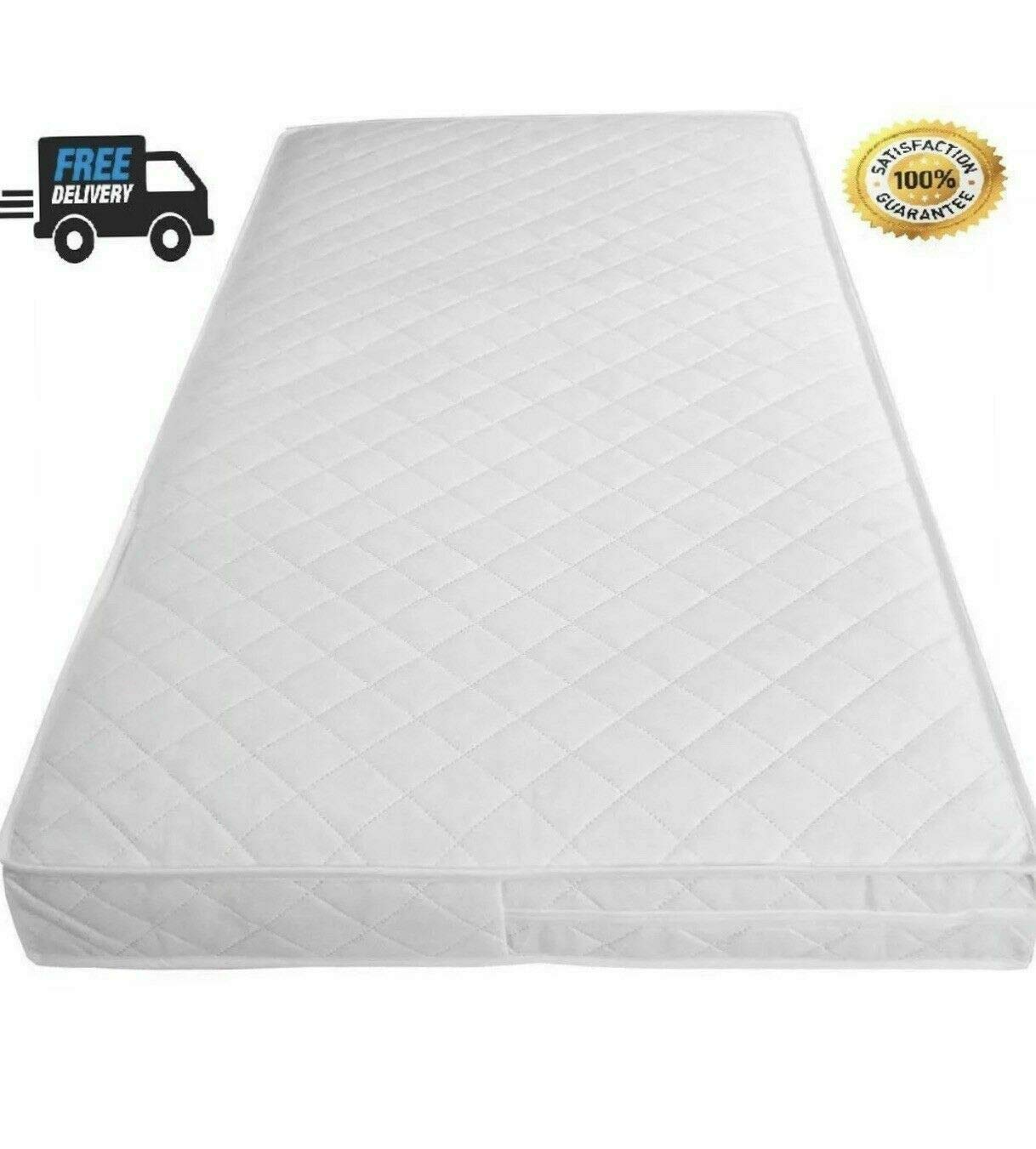 England Travel Cot 95 X 65 X 7.5 Soft Quilted Waterproof Cover Made in Lancashire 140 X 70 160 X 70 Cot Mattress 160 X 80 8 Sizes