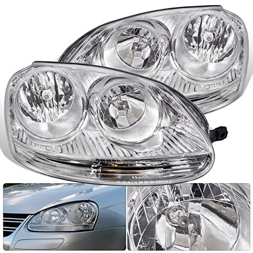 Euro Clear Headlight Lens (For VW Volkswagen Jetta GTI Golf Rabbit MK5 MKV VAG Euro Front Bumper Headlight Head Lamp Chrome Housing Clear Lens Clear Reflector Upgrade Assembly Pair Left Right)