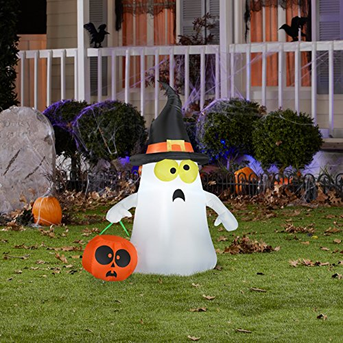 Gemmy Outdoor Ghost with Witch Hat, White, (Halloween Inflatables)