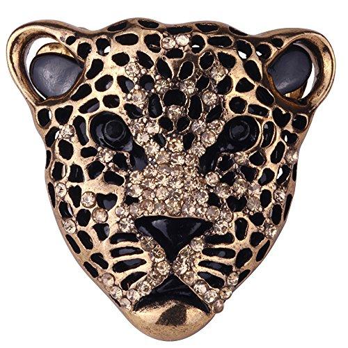 YACQ Jewelry Women's Crystal Leopard Stretch Ring Silk Scarf Clasp Buckle