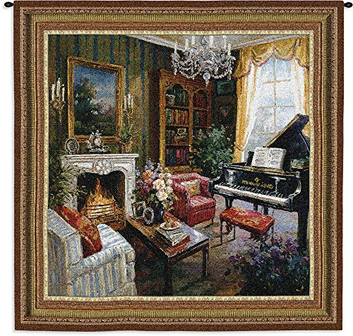 Pure Country Weavers Grande - Grand Piano Room | Woven Tapestry Wall Art Hanging | Regal Grand Piano Room with Fireplace | 100% Cotton USA Size 53x53