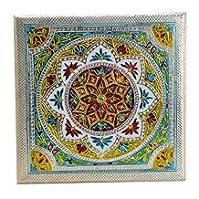 Meenakari Puja Bajot/ Table/ Chowki (Hindu Pooja, Indian Religious Chaurang) - Mandala Design, 15 L X 15 W X 5 H (Medium)