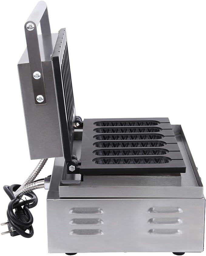 Iglobalbuy Gaufrier 1500W Machine à Gaufre Appareil à Gaufres Professionnel Antiadhésive 6 Petits pour Crêperie Hot-dog Maïs Dimension 14 X 4CM