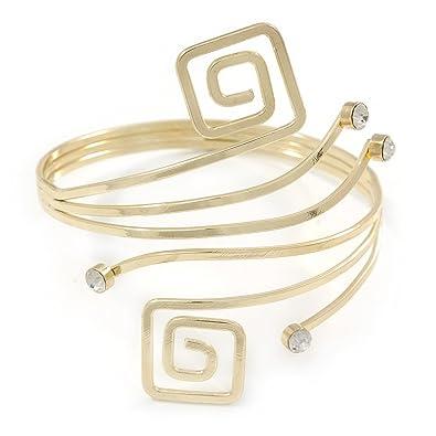 Avalaya Greek Style Upper Arm, Armlet Bracelet In Gold Plating - 27cm L - Adjustable