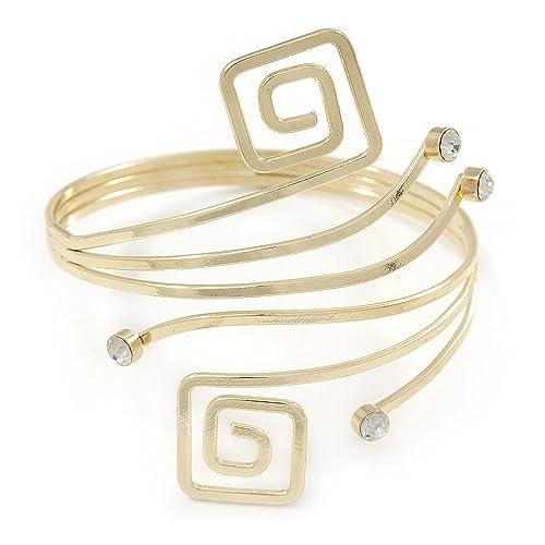 miglior sito web 608a9 cb7b8 Bracciale in stile greco con spirale per avambraccio, placcato in oro, 27  cm L, regolabile