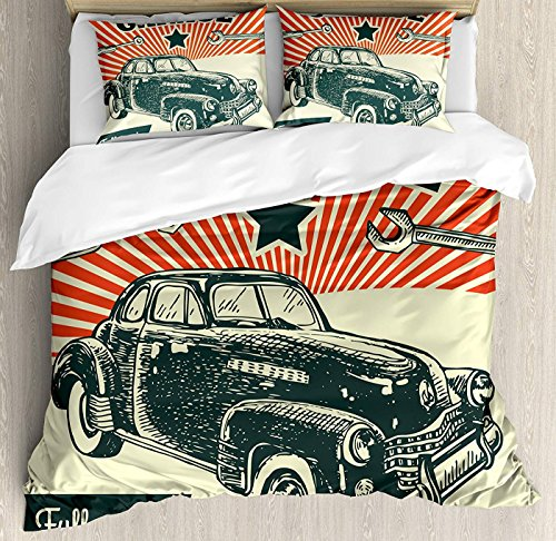 LEO BON Cars Duvet Cover Set Queen Size, Retro Car and Garage Advertising Poster Style Picture with Grunge Effects 1960s Floral Duvet Cover and Pillow Shams Bed Set, Emerald Orange