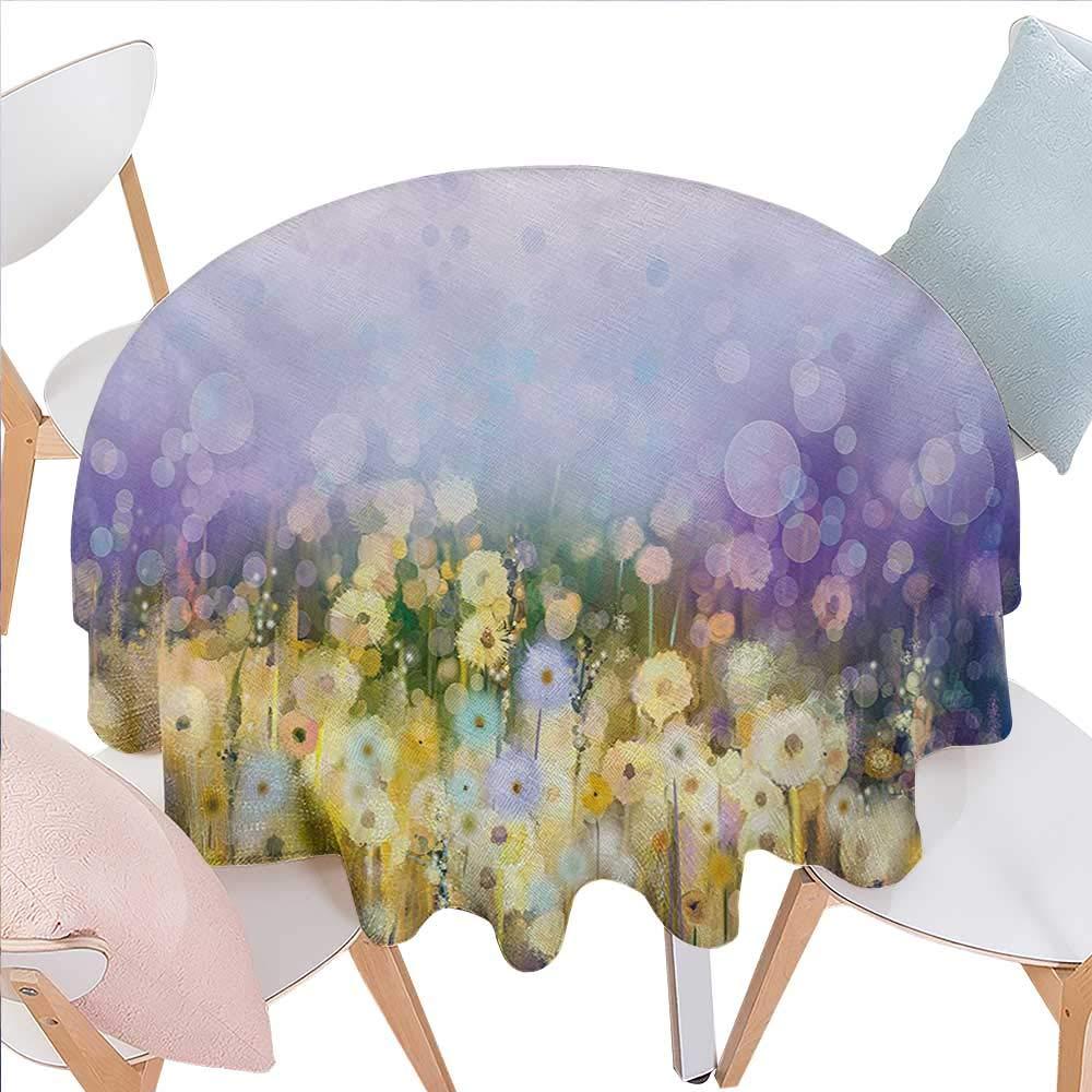 花柄プリントテーブルクロス ボタニカルアレンジメント 手描きスタイル 春テーマ ノスタルジック 自然 フランネル テーブルクロス 36インチx36インチ スレートブルーとホワイト D50