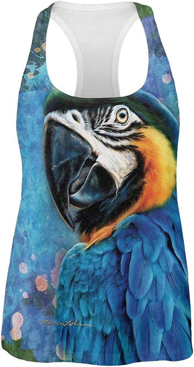 Exotic Blue Gold Macaw All Over Womens Work Out Tank Top At Amazon Women S Clothing Store