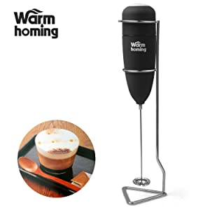 Milk Frother, Kitchen Stainless Steel Handheld Electric Milk Frother for Drink Mixer, Latte & Capucinno Maker, Foam Maker (Black)