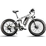 Cyrusher XF800 ファットバイク アシスト自転車 17×26インチ マウンテンバイク1000W 48V13An アルミフレーム FATBIKE迫力の極太タイヤ スノーホイール (白)