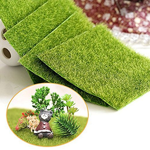 Shindel Fairy Artificial Grass, Artificial Garden Grass, Ornament Garden Dollhouse, 6''x 6'', 4 PCS