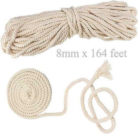 AILINDA Cordón grueso de algodón macramé hecho a mano para hacer manualidades para mesas de ganchillo, cestas de cuerda, cuerda para hamaca al aire libre, 55 yardas, algodón, beige, 8mmx50m: Amazon.es: Hogar
