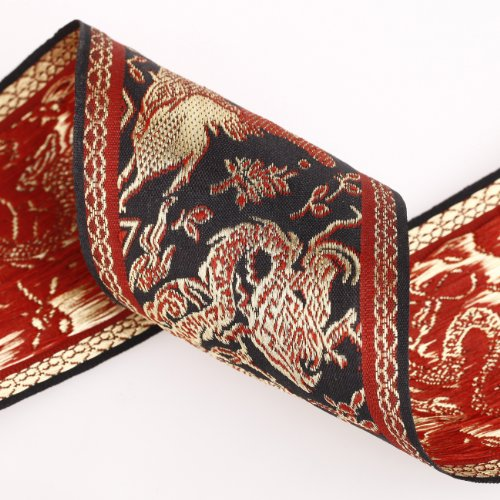 Weave Terra Cotta - Neotrims 8cm Chinese Dragon Decorative Trimming Ribbon, Great for Tie Backs, Home Decor. Metallic or Matte Options. Black Beige Terracotta & Vintage Gold.
