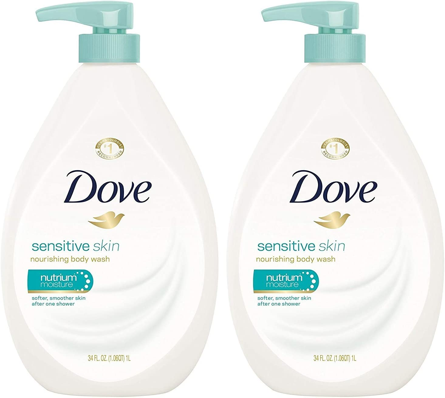 Dove Body Wash, Sensitive Skin Pump, 34 Ounce (Pack of 2)