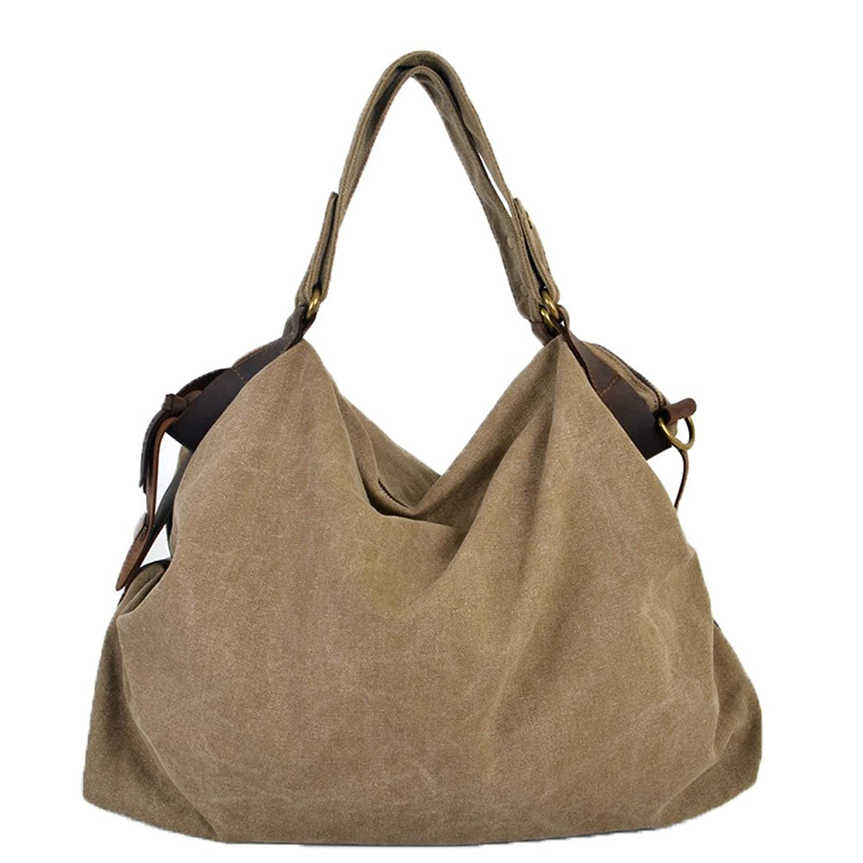Aibag Retro Women's Hobo Style Canvas Genuine Leather Tote Handbag Shoulder Bag
