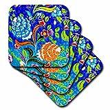 3dRose Danita Delimont - Artwork - Ancient Arab Islamic Blue Orange Flower Design, Madaba, Jordan - set of 8 Ceramic Tile Coasters (cst_276929_4)