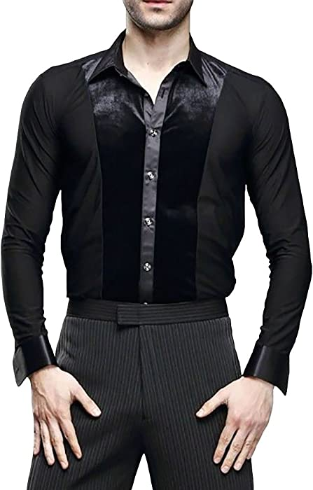 c729a8033 Men Dance Velvet Shirt Ballroom Modern Salsa Samba Smooth Latin Top  Dancewear Black