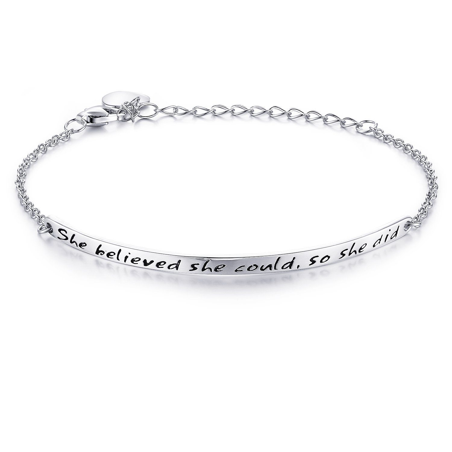 """NINAMAID """"She Believed she Could, so she did"""" Engraved 925 Sterling Silver Inspirational Bangle Bracelets"""