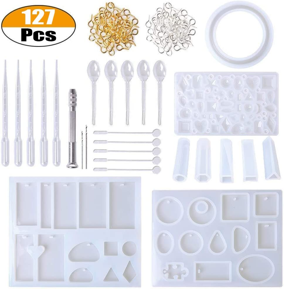 Chikanb 125 Pcs Resin Casting Silicone Moulds Tools Set DIY Epoxy Resin Craft Molds