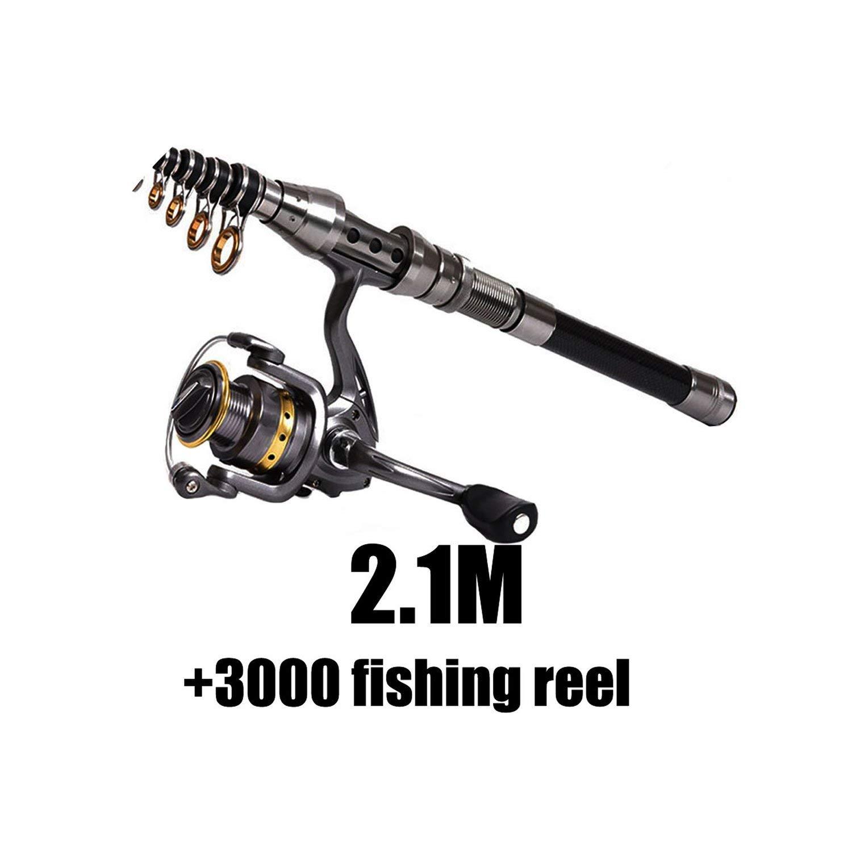Green 1.5M2.4M Telescopic Fishing Rod Combo and Fishing Reel Full kit Wheel Portable Travel Fishing Rod