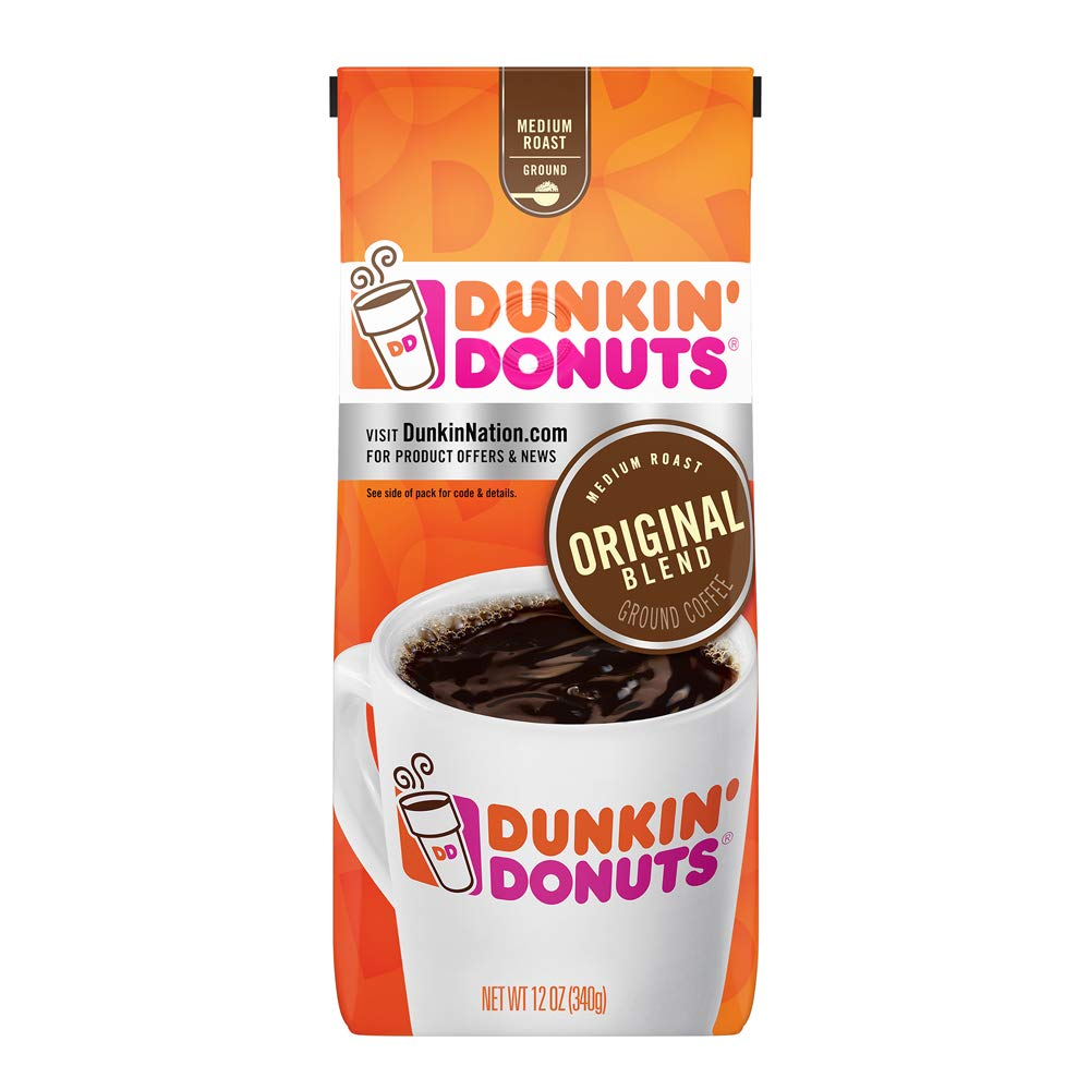 Dunkin' Donuts Original Blend Medium Roast Ground Coffee, 12 Ounces