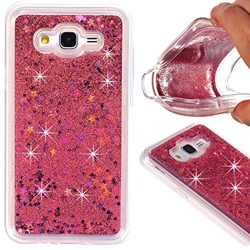 Galaxy J7 Case, KMISS Twinkle Glitter Star Liquid Flowing Glitter Floating Dynamic Quicksand Luxury Bling Glitter Soft TPU Bumper Case For Samsung Galaxy J7 J700 (2015) (Rose Gold)