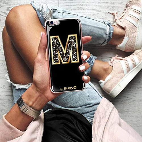 Skino™ Custodia Skin 3D Anti-Gravità Case Cover Resina Gel per iPhone 5 / 5s / 5 SE / 6/6 Plus / 6s / 6s Plus / 7/7 Plus Anti-Scratch Protezione 100% UV Antiscivolo Letter Gold Lettera Doro M (iPhone