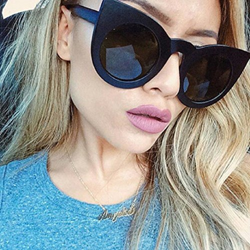 YABINA Cat Eye Mirrored Plastic Flat Lenses Women Sunglasses UV400 - For Flat Best Shades Nose