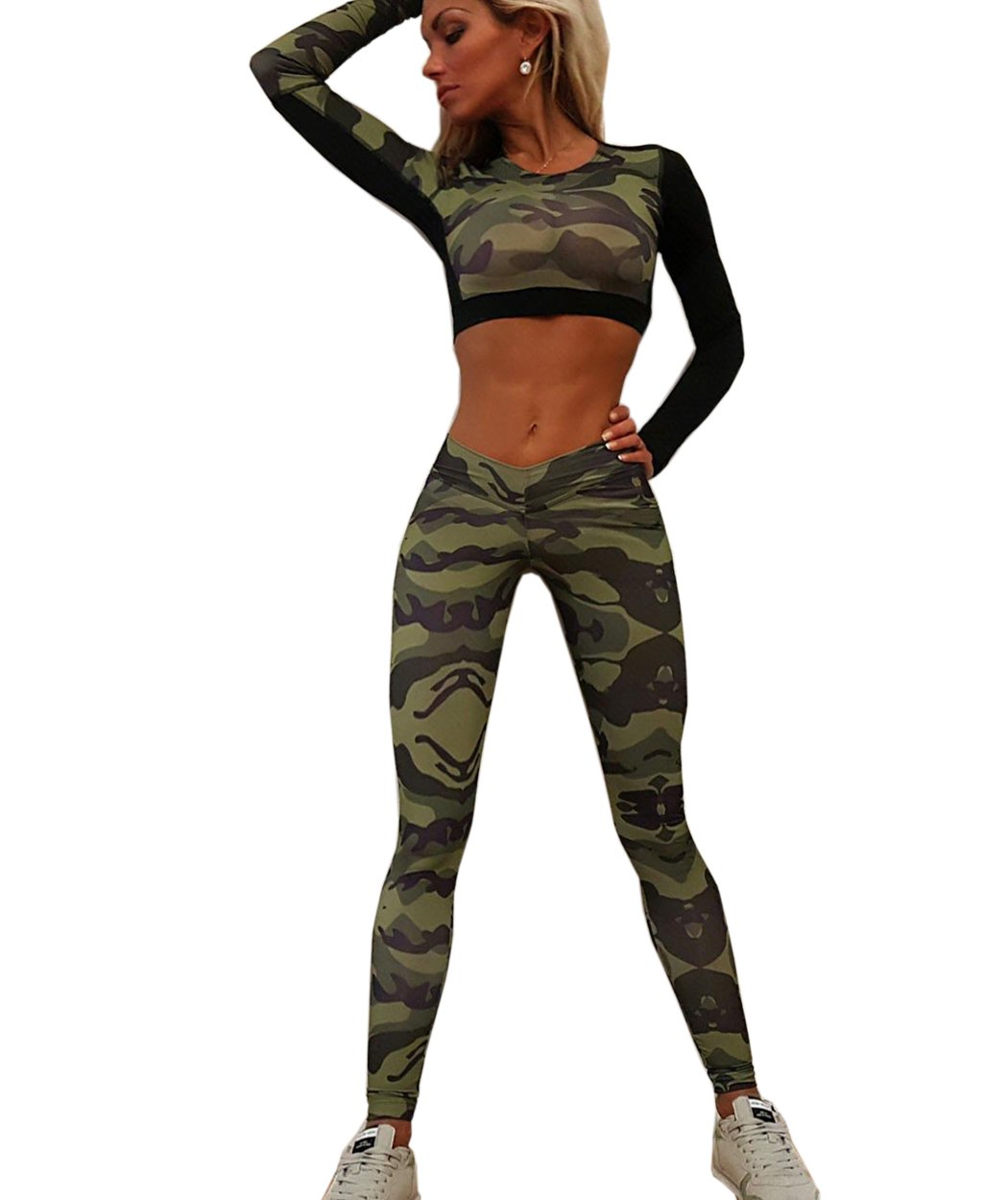 Akery Women's Camouflage Sport Bodycon Crop Top Long Pant Set Active Tracksuit