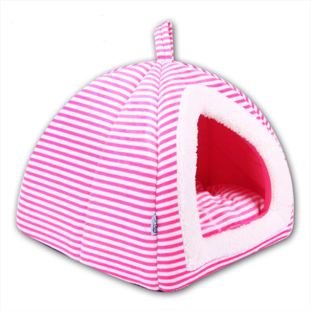 Pet Kennel Mat Small Dog Cat Litter Tent Yurt Soft and Comfortable Autumn and Winter Warm Pet Room Cat House,A,M