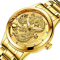 Mens Watches Dragon - Gold Wrist Luxury Men's Stainless Steel Band