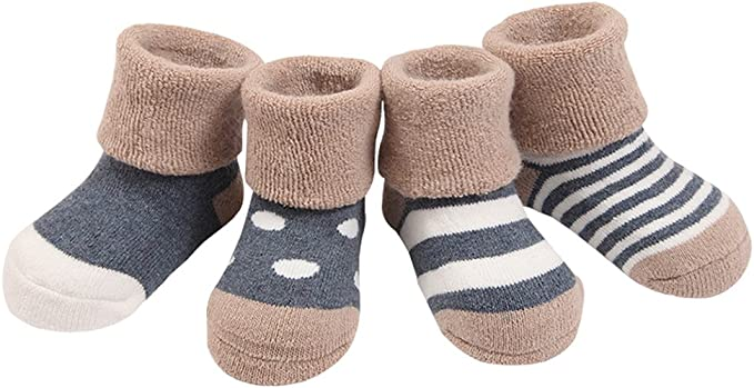 DEBAIJIA 3 Pairs Baby Winter Anti-Slip Cotton Fluffy Socks Newborn 0-36 Months Infants Toddler for Kids Boys Girls 3 Colors