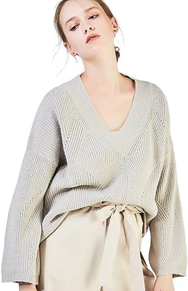 Baymate Mujer Suéter Loose Pullover Jerseys Manga Larga ...