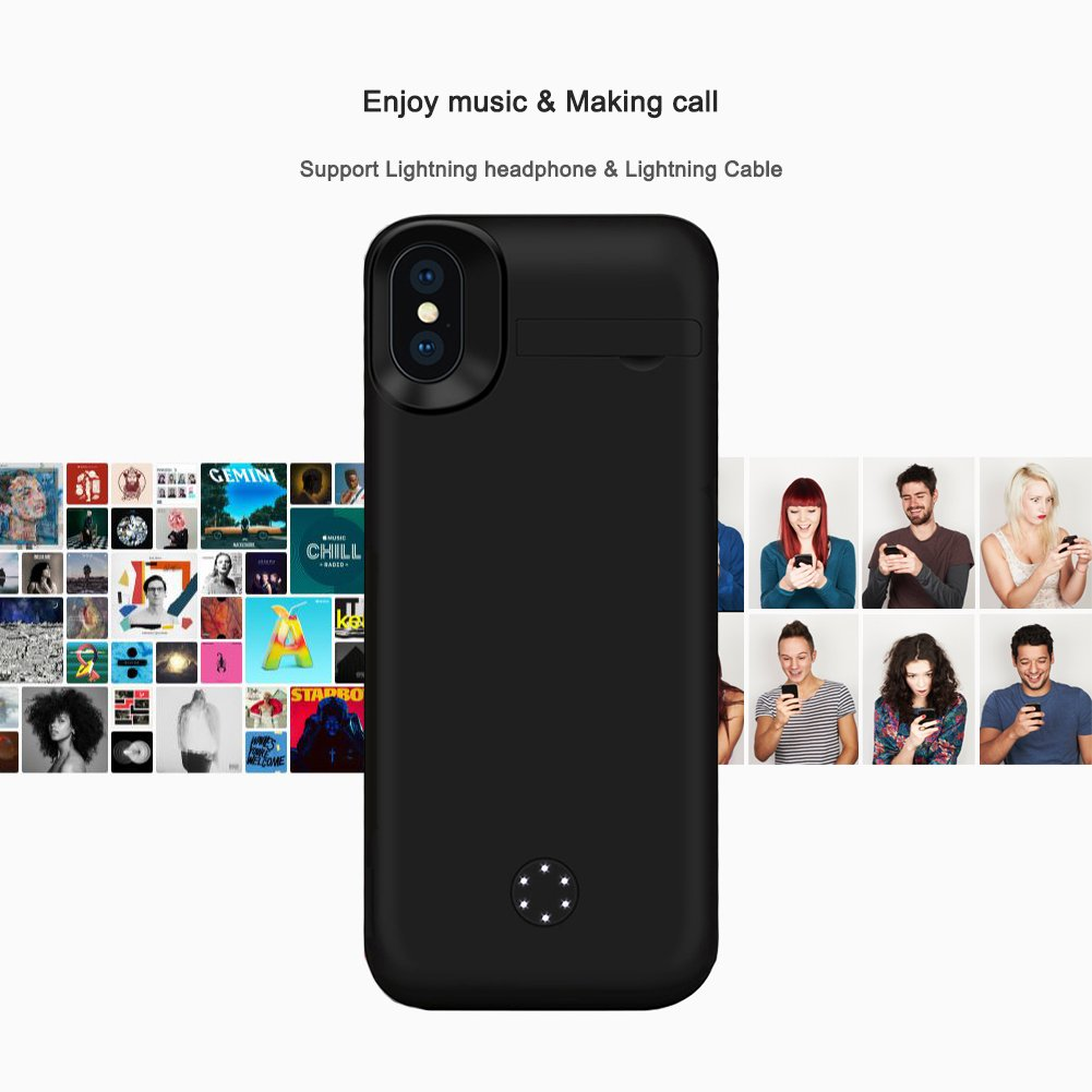 iPhone X Battery Case, ZTESY iPhone X 5000mAh Capacity Extended Charger Case Rechargeable Charging Case with Kickstand for iPhone X -Black by ZTESY (Image #5)