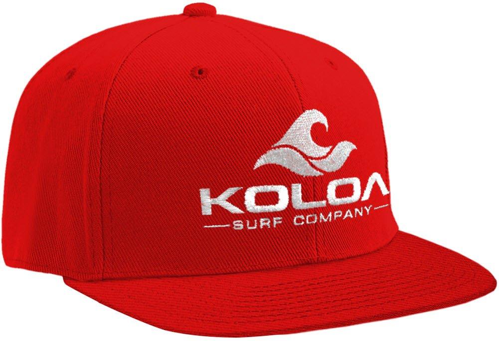 Joe's USA Koloa Surf-Classic Wave Logo Snapback Hats Red/White