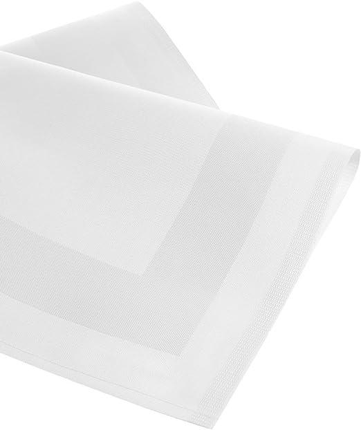 lot de 6. Tissu damass/é Serviettes//Bouche Serviettes damass/ées avec bande satin/ée Blanc 50/x 50/cm