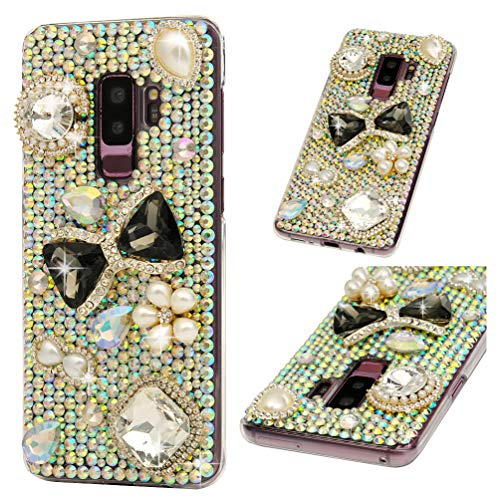 Galaxy S9 Plus Case, S9 Plus Case, Diamond Series Full Body Ultra-Thin Plastic Cover Bling Colorful Rhinestone Crystal Shockproof Protective Case for Samsung Galaxy S9 Plus - Black Gemstone Bow