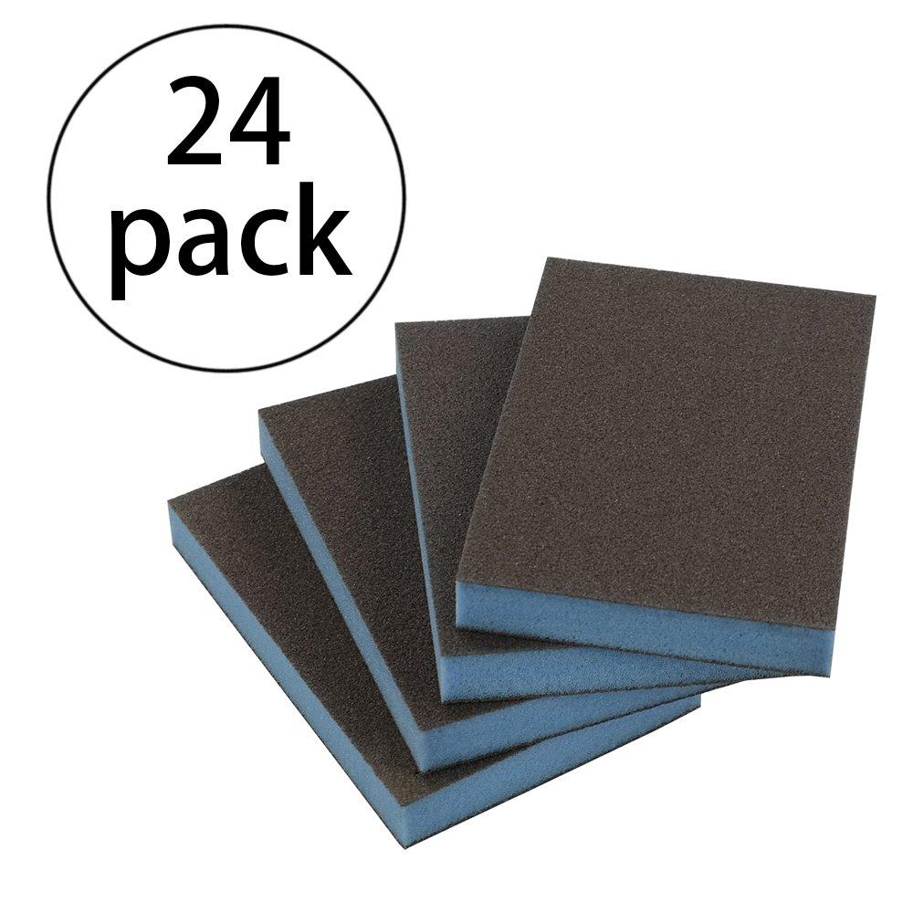 Kekow Sanding Sponges, Fine Grit, 3.82''X 2.72''X 0.47'', 24 Packs