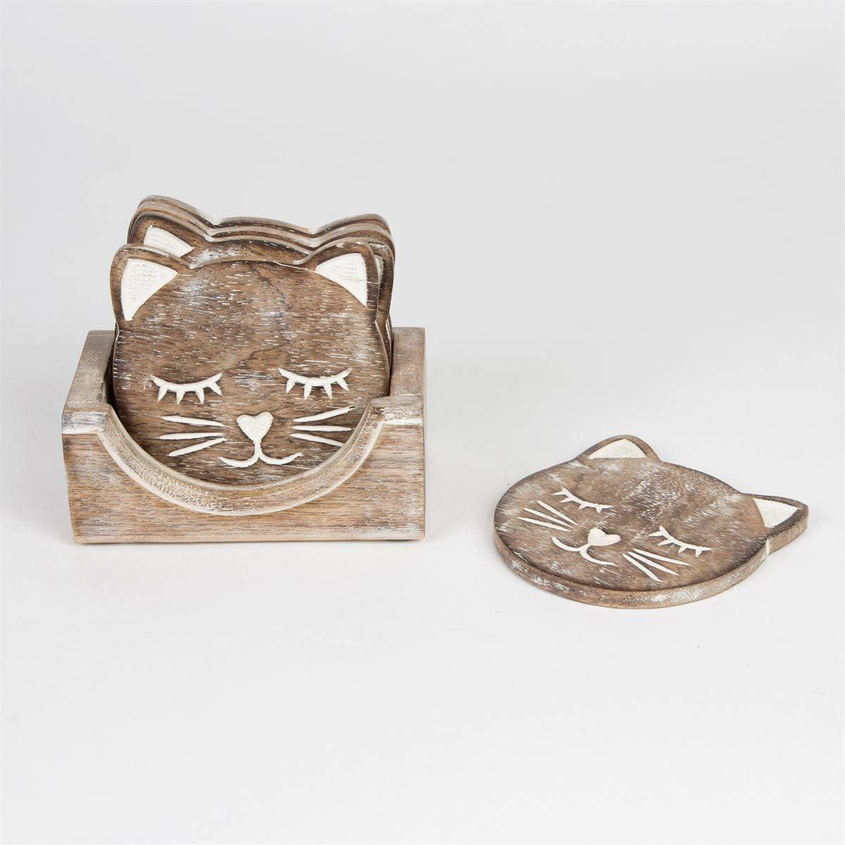 vino t/è gatto caff/è birra sottobicchiere tazze Indus Lifespace Sottobicchieri in legno per bevande