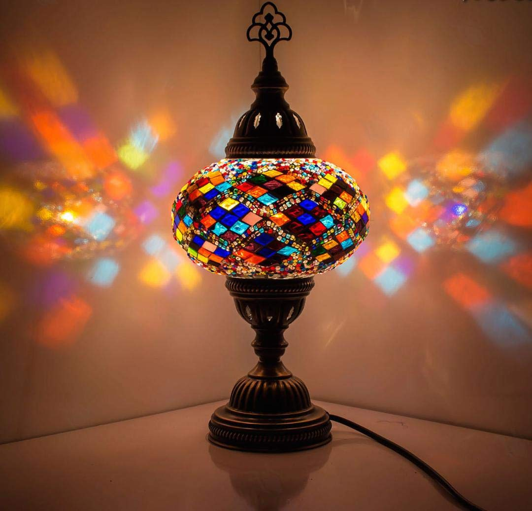 New bosphorus stunning handmade turkish moroccan mosaic glass table desk bedside lamp light with bronze base multi colored amazon com