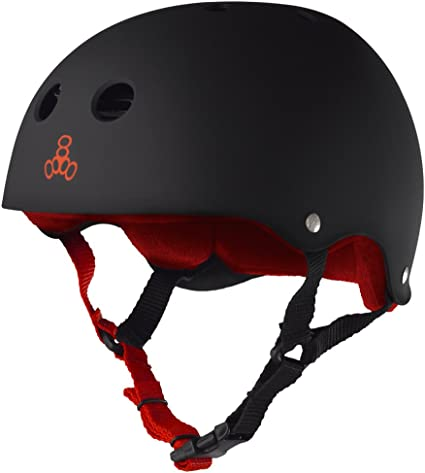 Triple Eight Sweatsaver Liner Skateboarding Helmet All Black Rubber Medium