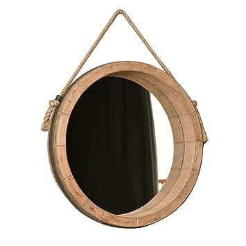 Yanzhen Runder Spiegel Amerikanischer Stil Massivholz Mit