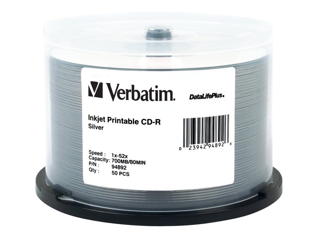 Verbatim CD-R 700MB 52X DataLifePlus Silver Inkjet Printable, 50-Disc Spindle 94892