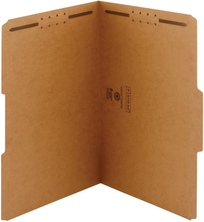 Reinforced 1//3-Cut Tab 19837 Legal Size 2 Fasteners Smead Fastener File Folder Kraft 50 per Box