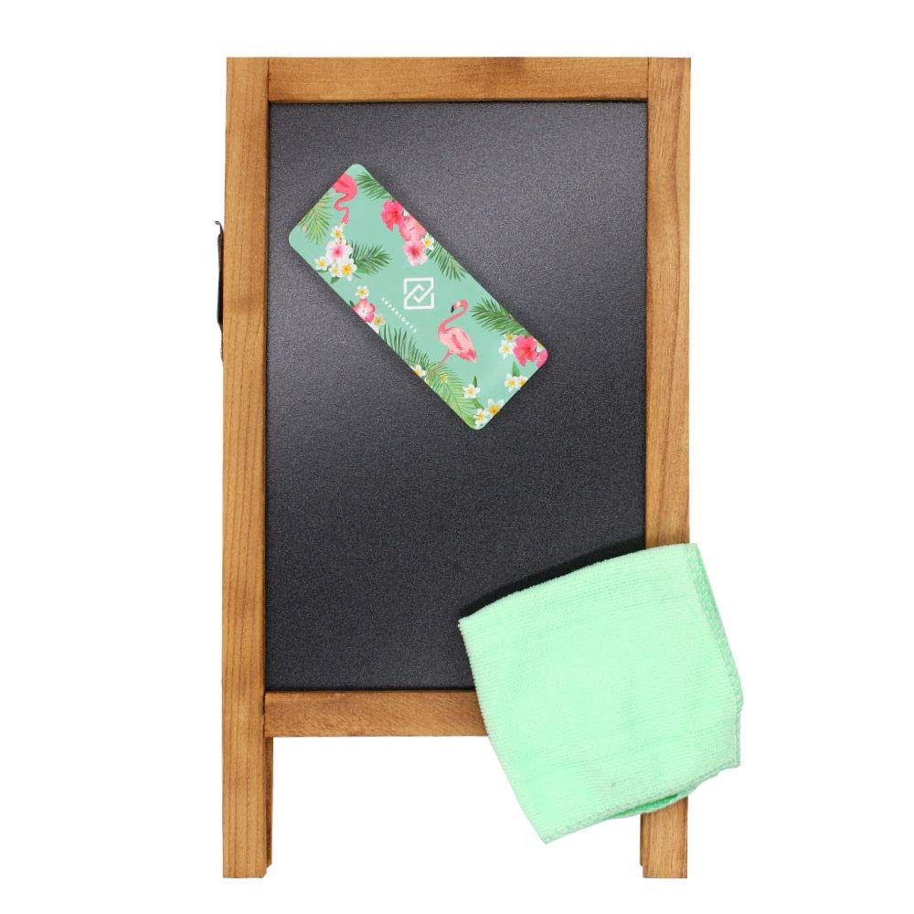 Frame Dimensions: 8.6 W X 15 L, Writing Area Dimensions: 7.1 W X 10.6 L Rustic Style Two-Side Wood Frame Blackboard SUPERIORFE Vintage Free Standing Wooden Easel Chalkboard