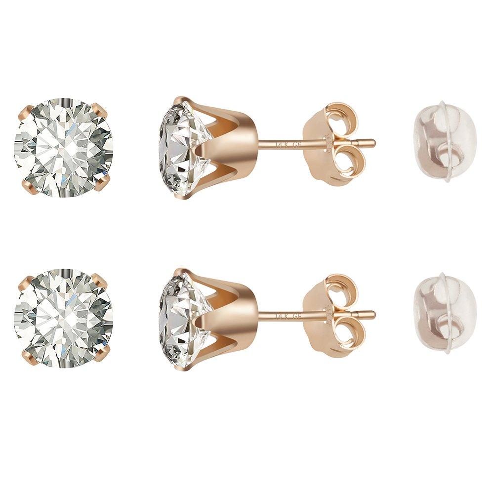 14K Gold Filled Stud Earrings Hypoallergenic Cubic Zirconia for Girls & Men's Ear Piercing (Size:6mm)