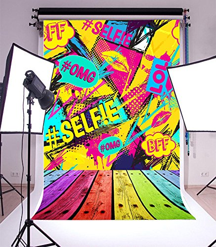Laeacco 6x8FT Vinyl Photography Backdrop Abstract Seamless Pattern With Pop Art Bubbles Textile Fashion Modern Grunge Background Girls Boys Lovers Friends Lol Selfie BFF Colorful Graffiti Wood Floor -